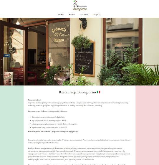 strony internetowe, restauracja buongiorno